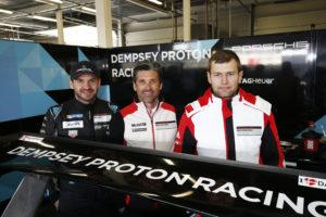 Richard Lietz, Patrick Dempsey ( Team Principal Dempsey Racing) Michael Christensen (l-r)