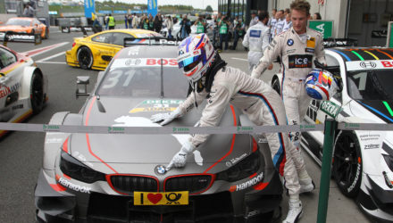 Oschersleben (DE) 13th September 2015. BMW Motorsport, Race 14, Winner Tom Blomqvist (GB) BMW M4 DTM and 3rd Place Driver Marco Wittmann (DE). This image is copyright free for editorial use © BMW AG (09/2015).