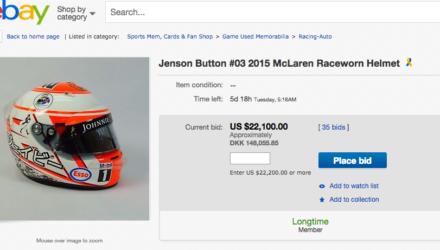 Jenson Buttons hjelm på auktion 2015
