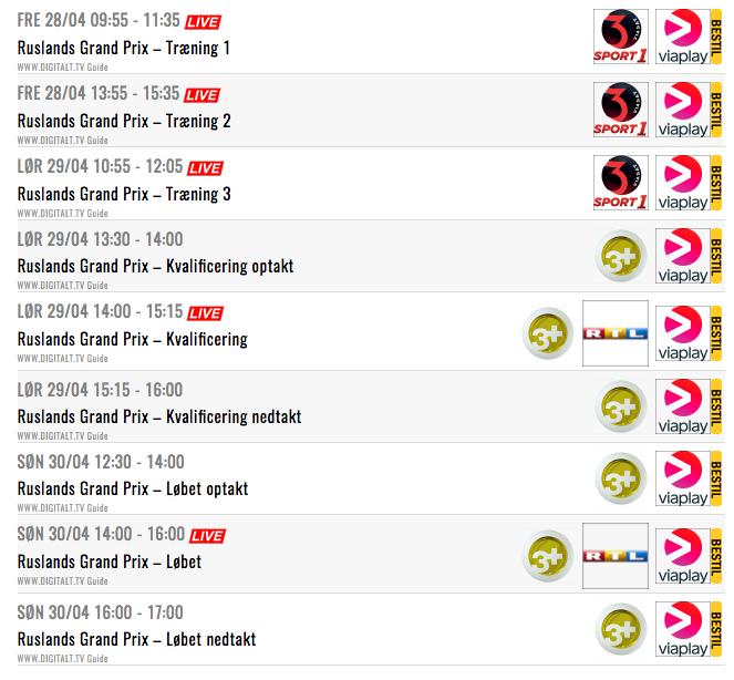 Se Ruslands Formel 1 grandprix og livestream Formel 1 gratis.